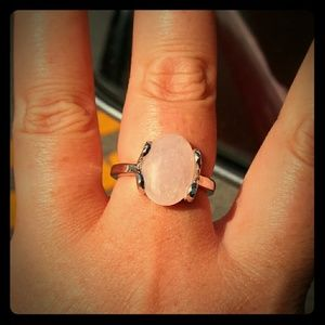 New Rose Quartz 925 Silver Plated Ring Size 8